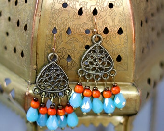 Turquoise and orange boho earrings, Moroccan Earrings, Chandelier Earrings