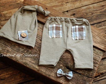 Newborn boy photo outfit,  newborn photography, set baby boy,  upcycled pants and hat,  newborn photography props, ready to ship!