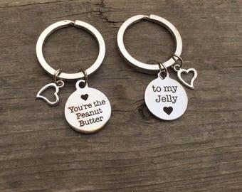 Peanut Butter, to my Jelly Keychains, Best Friend Keychains.