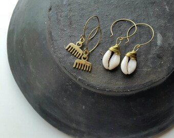 African Jewelry, Solid Brass Adinkra Symbol Earrings - Duafe Afro Comb Earrings, Adinkra Statement Jewelry, Gift afrocentric earrings