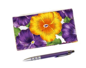 Pansies Floral Fabric Checkbook Cover for Duplicate Checks with Pen Holder, Purple and Yellow Cotton Fabric Check Book, Pansy Cheque Book