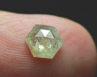 0.855ct 6.4mm Hexagon VIDEO LINK Rose Cut diamond ivory yellow 6.4mm by 2.6mm ethical conflict free