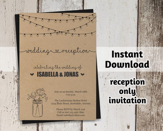 Reception Only Invitation Template Printable Rustic Mason