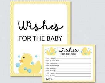 Rubber Ducky Wishes for Baby Baby Shower Activity in Yellow - Printable Well Wishes for Baby Cards and Sign - Instant Download - 0019-Y