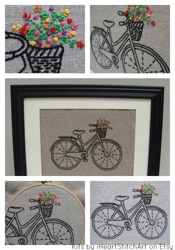 Bicycle embroidery kit diy embroidery hoop art modern hand bicycle embroidery kit diy embroidery hoop art modern hand embroidery patterns bike embroidery pattern modern embroidery kits solutioingenieria Image collections