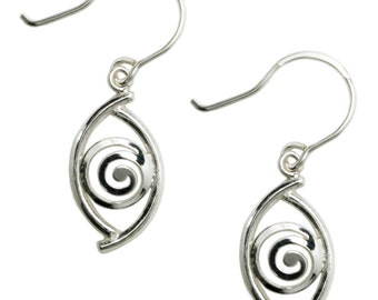 Evil Eye Amulet-Charm - Sterling Silver Earrings