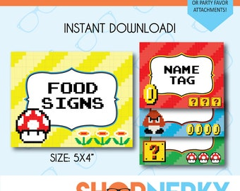 PRINTABLE 8-bit Mario Themed Food or Favor Signs  |  Name Tag  |  Instant Download