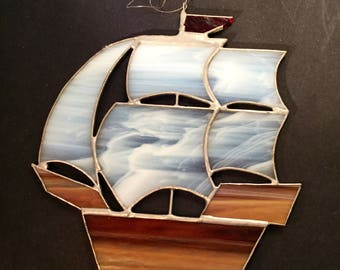 Nautical Ship  Stained Glass Ornament