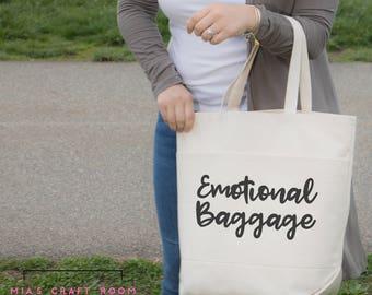 Emotional Baggage tote bag [LARGE Cotton Tote Bag with two large front pockets]