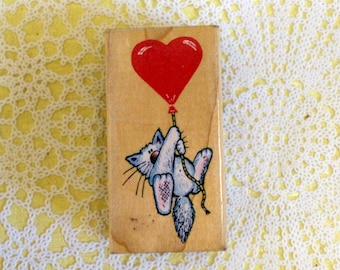 All Night Media Cat Balloon Wood Mounted Rubber Stamp