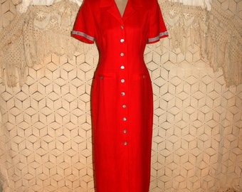 Red Linen Dress Fitted Button Up Tea Length Day Dress Maxi Size 6 Dress Red Dress Short Sleeve Jessica Howard Small Medium Womens Clothing