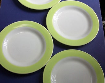 "4 LIME green band PYREX milk glass 10""  DINNER plates"