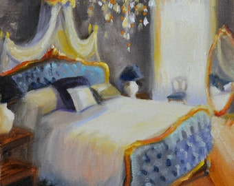 Original Oil Painting, BLUE BEDROOM, Interior painting of room, French Interior, blue and gold, ART