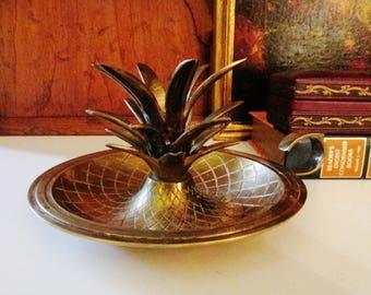 Vintage Large Brass Candleholder, Hollywood Regency Pineapple, Williamsburg Style, Palm Beach Decor, Brass Pineapple Candleholder