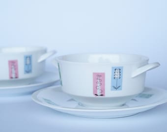 Porcelain Soup Bowls and Saucers by Arzberg/ Mid-Century German Design