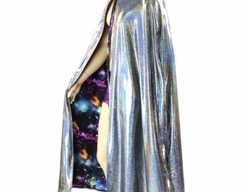 """50"""" or 60"""" Long Full Length REVERSIBLE UV Glow Galaxy and Silver Holographic Hooded Cape Cloak 151479"""