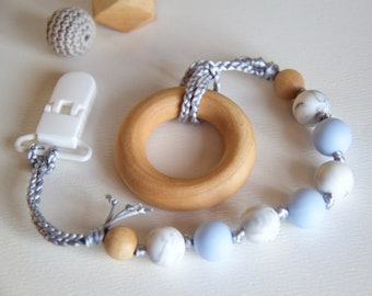 Baby Blue Teether, Pacifier Clip, Wooden Ring, Maple, Organic Baby, Teething Baby, Food-Grade Silicone, Silicone beads, #120