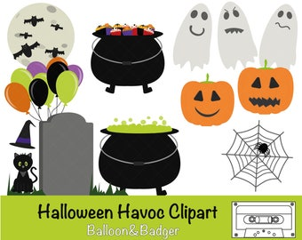 Halloween Havoc Clipart | Cake Toppers | Scrapbooking | Stickers