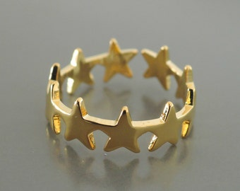 Gold Ring - Star Ring - Adjustable Ring - Pinky Ring - handmade jewelry