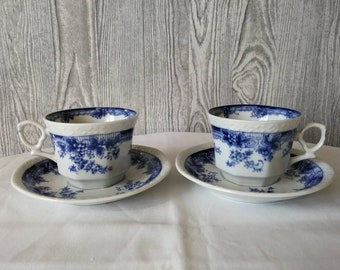 Two cups and saucers Grape Keinan China