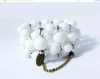 ON SALE Vintage Miriam Haskell White Milk Glass Bead Memory Bracelet
