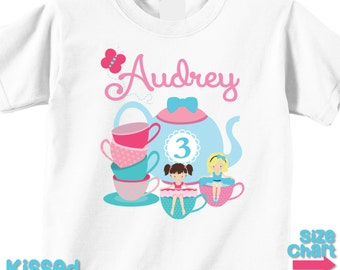 Personalized Tea Party T-shirt Bodysuit Girl Tea Party Birthday Party Shirt Tea Party Favors Pink Blue Little Girl Toddler Kids Tea Party