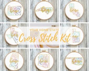 Cross Stitch Kit Modern Home State Kit Needlepoint Kit Embroidery Kit Home Sweet Home Decor Housewarming Gift