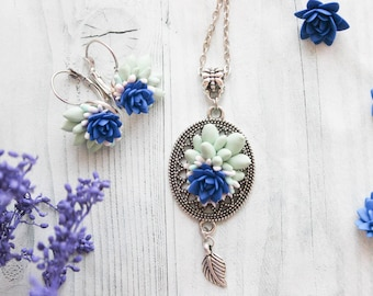 Succulent jewelry set, blue flower, green succulent, flower earrings, jewelry, succulent pendant, nice gift for woman,succulent earrings