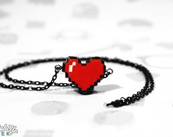 Pixel Heart Necklace Couples Necklace Best Friend Geeky Gamer