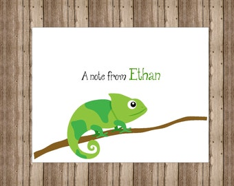 PERSONALIZED NOTECARDS for BOYS / Chameleon Lizard Notecards Boxed Set /Green Reptile Stationery/Set of 10/Lizard Boys Party Thank You Cards