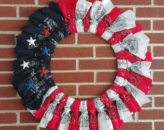 Large Patriotic Red, White &Blue Bandana Wreath with Stars