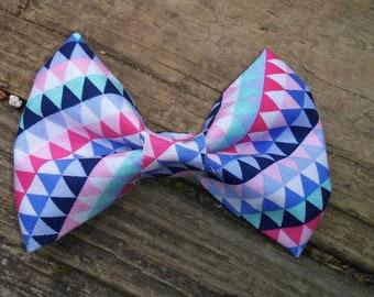 3.5 inch geometric fabric hairbow