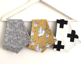 Set of three scarves triangle towel burp cloths made of organic cotton