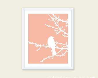 Spring Bird on Tree Digital Print - Pastel Peach and White - Bird Wall Art  Spring Home Decor - Modern Bird Woodland Branches - Bird on Twig