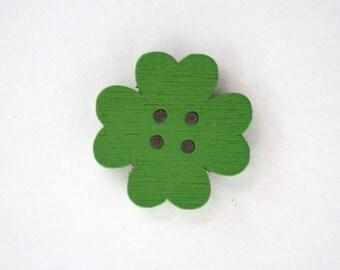 19mm x 10 flower wooden button: Green - 001872