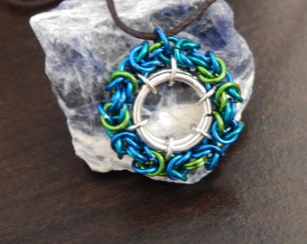 Sea Colors Round Byzantine Chainmaille Charm