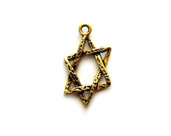 10 Gold Star of David Charms