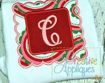 Scallop Square Frame Applique Machine Embroidery Design 4 Sizes