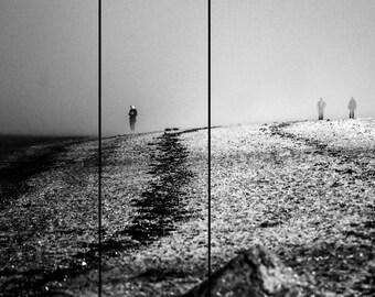 Postcard: Inbetween - photography - art print - black and white - beach - mist - fog - silence - melancholy - tranquility - stillness