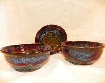 Ceramic azurite blue bowls