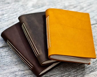 50% OFF - Pocket Leather Journal Notebook Personalized - Premium leather