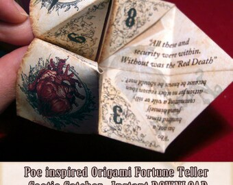 Edgar Allan Poe inspired Origami Fortune Teller . cootie catcher . game . DIY toy . printable Instant DOWNLOAD. Paper Crafting . Quotes