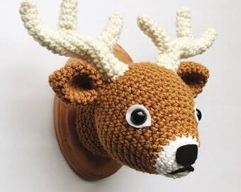"Deer Faux Taxidermy, Crocheted (5""x7"")"
