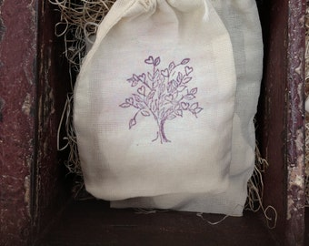 "Hand Stamped Drawstring Pouch Bag / Cotton Muslin Bags 3.25""x5"" Gift or Packaging"