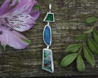 Opal And Uvarovite Garnet Druzy Pendant