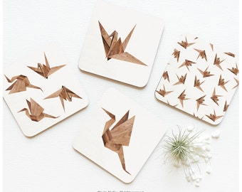 Coaster Set of 4 Faux Wood Print Origami, Origami Coasters, Origami Coaster Set, Wood Print Origami Coasters 02.