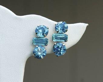 Aqua Rhinestone Screw Back Earrings Vintage