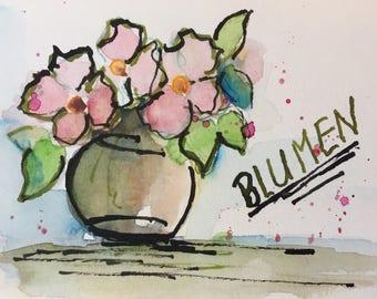 Original Watercolor Watercolor Postcard bouquet Art art image Watercolor Flowers watercolor painting