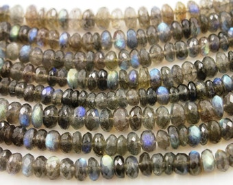 Labradorite Gemstone Rounds Chain, 5-6mm stones w/ Oxidized Wire chain, Priced & Sold by the Foot.(LAB/RNDL/5-6)