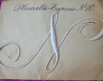 """Stunning, French rare antique, large size monogram Plumetis Express No.10, of the Letter  """" N """"."""